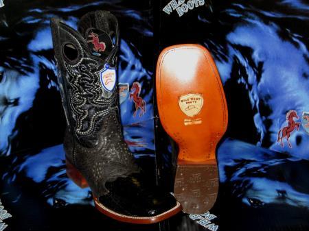Buy JE5201 Wild West Genuine Ostrich Leg Square Black Rodeo Western Cowboy Boot