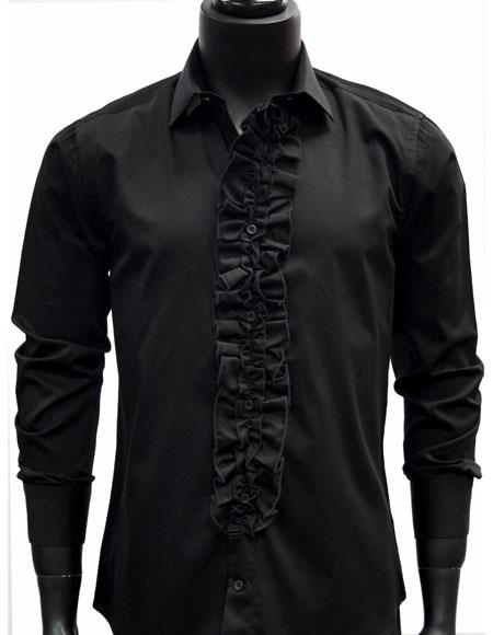 Men's classic Black Ruffled Dress 100% Cotton casual Trendy tuxedo shirt