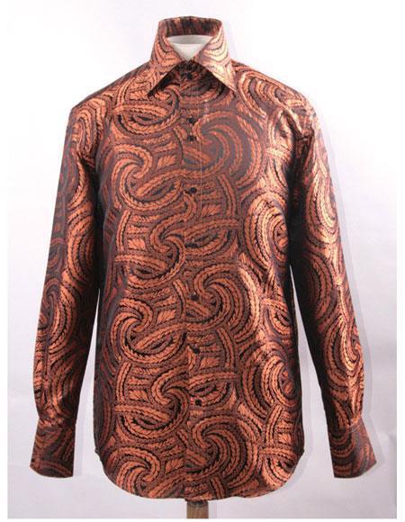 Men's Black Rust High Collar Fashion ~ Shiny ~ Silky Fabric Braid Swirl Pattern Club Clubbing Clubwear Shirts Night Club Outfit guys Wear For Men Clothing Fashion