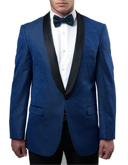 Mens Blue Slim Fit Tuxedo Jacket Pattern Black Large Shawl Lapel 100% Wool Blazer