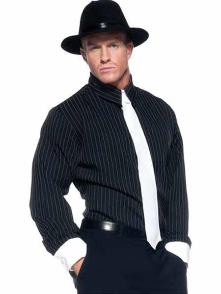 Buy SM1970 Men's 1920s Costumes Include Gangster Hat + Black Stripe Shirt + Black Flat Front Pants+ Free Tie