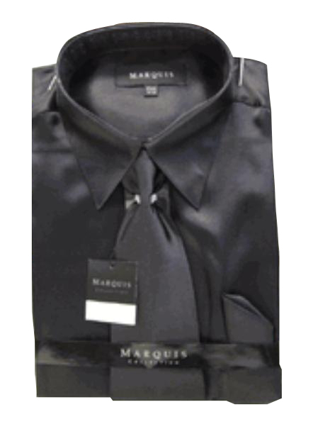 SKU#NK121 Mens New Black Satin Dress Shirt Tie Combo Shirts
