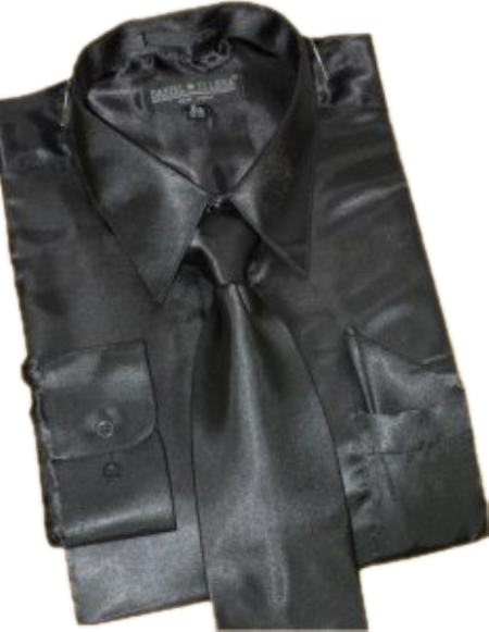 Satin Black Dress Shirt Tie Hanky Set