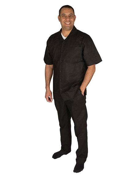 Mens Black Short Sleeve 2 Piece Casual Two Piece Walking Outfit For Sale Pant Sets Set With Long Pants 100% Linen Shirt