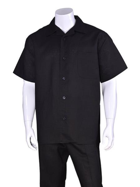 Men's Plain Black Short Sleeve Linen Casual Casual Two Piece Mens Walking Outfit For Sale Pant Sets Suit With Pant