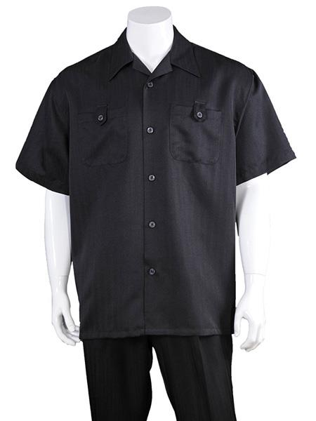 Mens Solid Black Casual Short Sleeve 100% Polyester Casual Two Piece Walking Outfit For Sale Pant Sets Suits