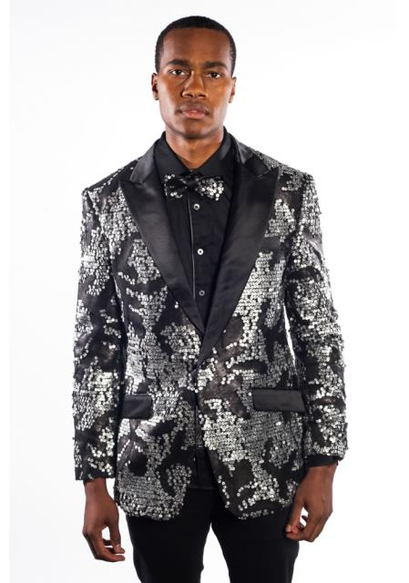 Mens Black Silver Flashy Shiny Sequin Blazer Sport Coat