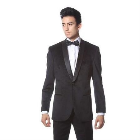 Mens Black Dinner Jacket Velvet ~ velour Tuxedo