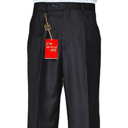 Buy RY483 Men's Black Single-pleat Wool Dress Pants