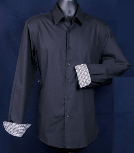 Long Sleeve ~ Fancy Cuff Pattern ~ Buttoned Collar Cotton/Poly Men's Slim Fit Black Men's Dress Shirt