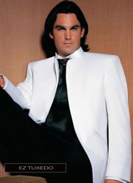 Fitted Fitc Cut Mirage Jacket In White + Black Dress Pants Fashion Tuxedo For Men