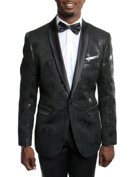 Men's Slim Fit Tuxedo Jacket 100% Wool Blazer Fancy Floral Pattern Large Shawl Lapel Black