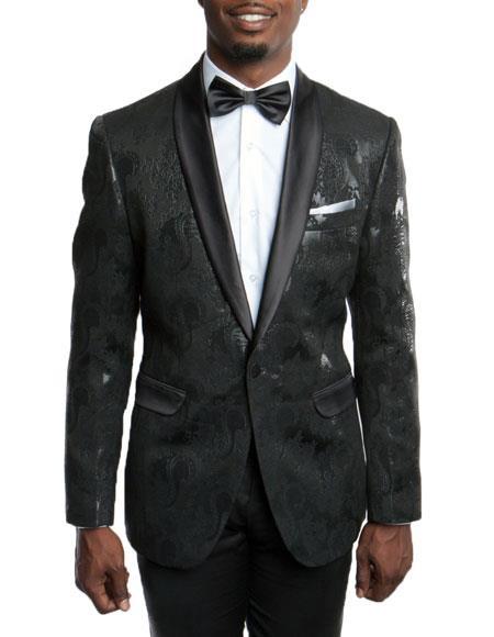 Mens Slim Fit Tuxedo Jacket 100% Wool Blazer Fancy Floral Pattern Large Shawl Lapel Black