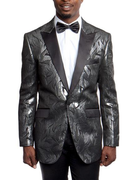 Mens Black Slim Fit Tuxedo Jacket 100% Wool Blazer Fancy Pattern Large Peak Lapel