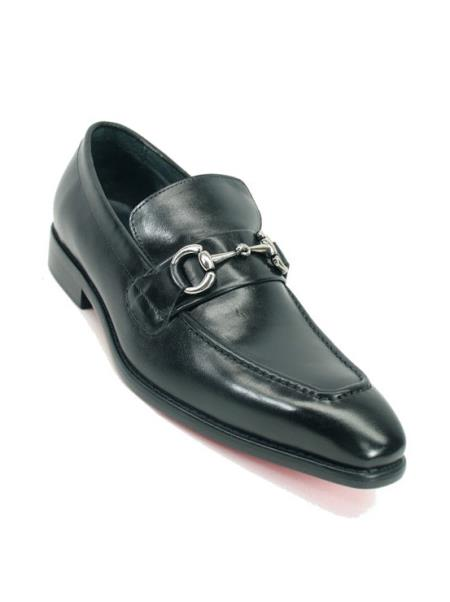 Mens Black Fashionable Carrucci Slip On Style Black Dress Shoe With Silver Buckle