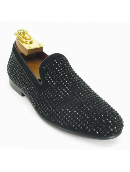 Men's Fashionable Carrucci Crystal Slip On Style Black Dress Shoe