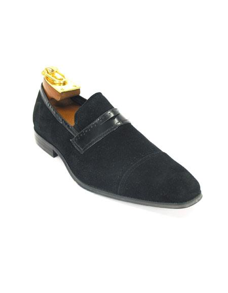 Men's Carrucci Black Slip On Leather Strap Suede Fashionable Stylish Dress Loafer