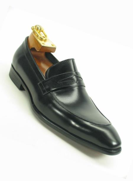 Black Men's Slip On Style Fashionable Carrucci Loafer  - Cheap Priced Men's Discounted black dress shoes