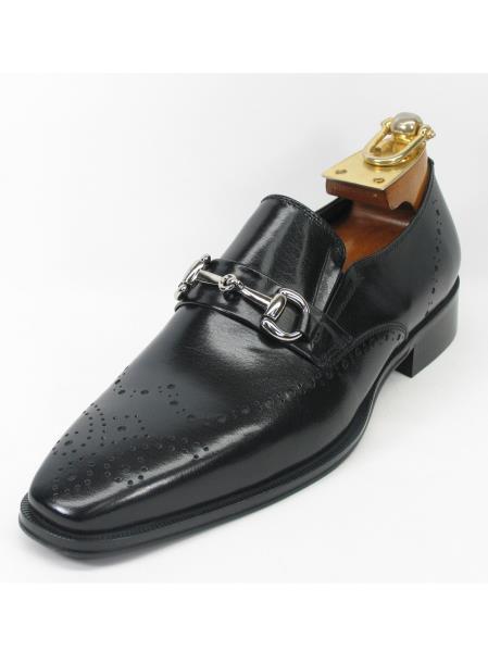 Mens Slip On Style Fashionable Carrucci Black Dress Shoe Black