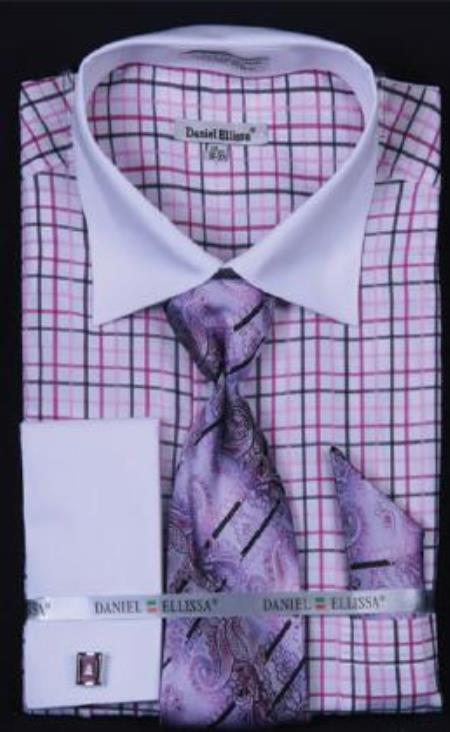 Buy AC-503 Small Checker Dress Fashion Shirt/ Tie / Hanky Set White Collar Two Toned Contrast Free Cufflinks Black