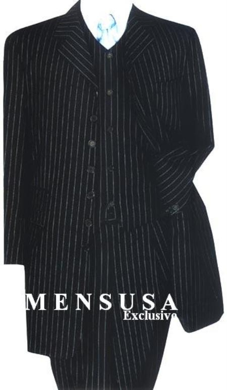 SKU# UCB614 Black & Small Pinstripe (Not Bold) 3 Pieces Long Fashion Suits $159