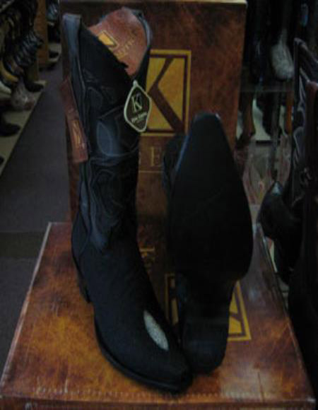 Buy SS-8746 King Exotic Black Snip Toe Genuine Stingray mantarraya skin Western Cowboy Boot