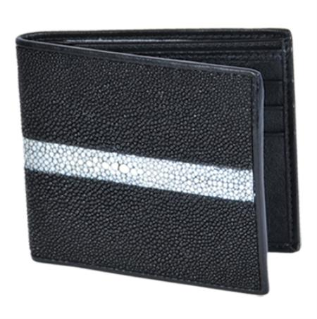 SKU#STN9128 Wallet ~ billetera ~ CARTERAS Black Genuine Stingray Rowstone Finish Card Holder Wallet