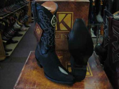Buy SM207 King Exotic Black Snip Toe Genuine Stingray mantarraya skin Skin Western Cowboy Boot
