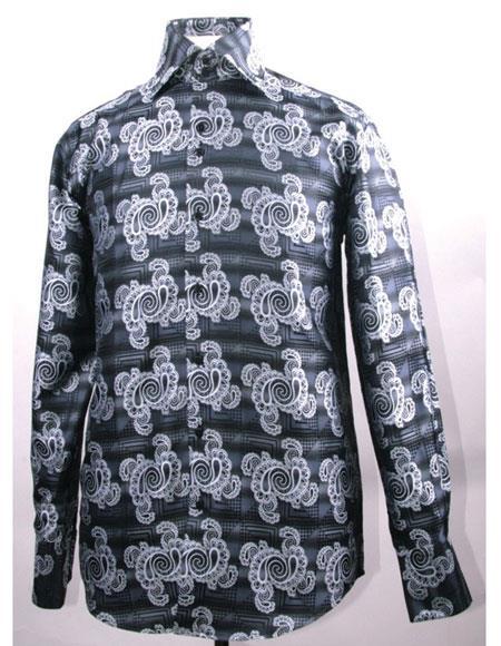 Mens High Collar Fashion ~ Shiny ~ Silky Fabric Black Swirl Pattern Club Clubbing Clubwear Shirts