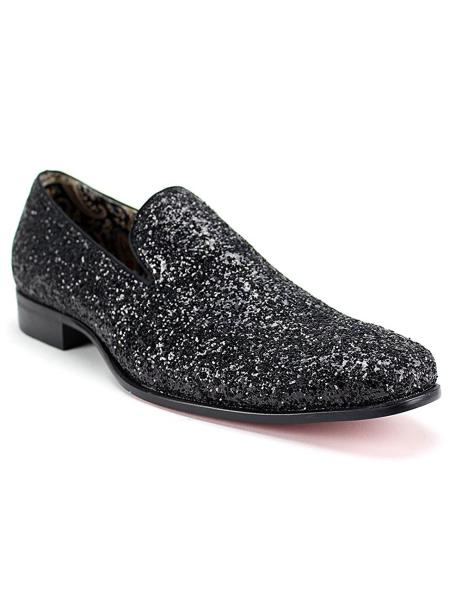 Men's Slip On Style Synthetic Amazing Glitter Black Dress Loafers Glitter ~ Sparkly Shoes Sequin Shiny Flashy Look