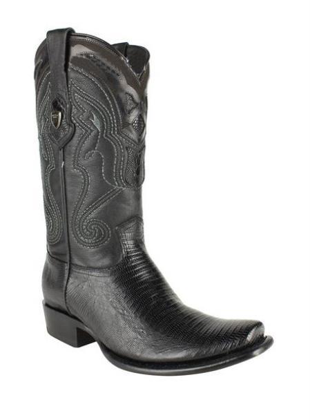 Men's Black Wild West Dubai Square Toe Genuine Teju Lizard Leather Dress Cowboy Boot Cheap Priced For Sale Online
