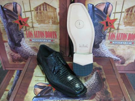 Buy BL256 Mens Genuine Authentic Black Teju Lizard Dress Shoe
