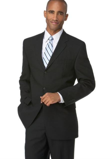 SKU#VZ1987 Mens Black 3 Button Polyester affordable suit online sale