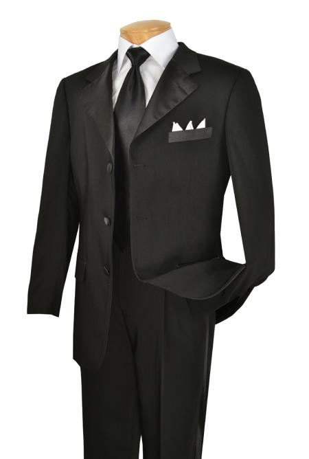 Mens Black 3 Button Year Round Tuxedo Big and tall Extra Long sizes Available Collection