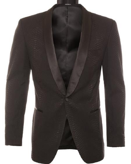 Men's Modern Fit Black Tonel Snake Pattern Ostrich looking Dinner Jacket & Blazer