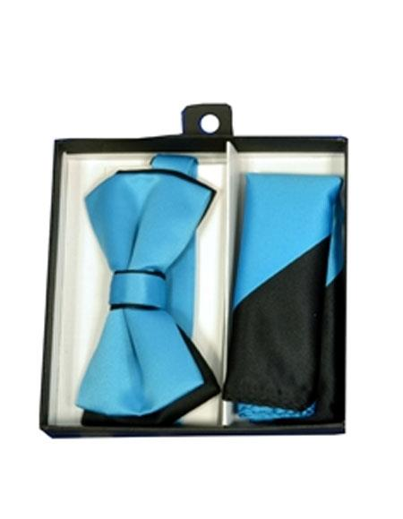 Men's Black/Turquoise Polyester Satin dual colors classic Bowtie with hankie