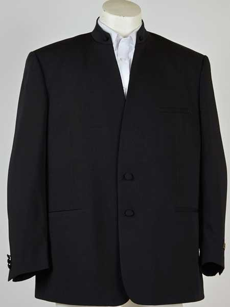 Mandarin Banded Collar Black