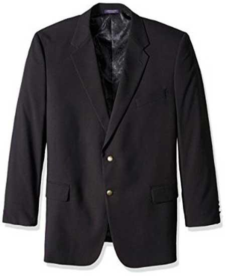 SM1158 Men's Black 2 Button Single Breasted Portly Classic Notch Lapel Blazer