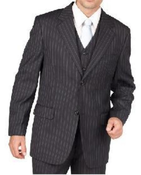 SKU#NZ1928 Mens Black Pinstripe 2 Button Vested 3 Piece three piece suit - Jacket + Pants + Vest