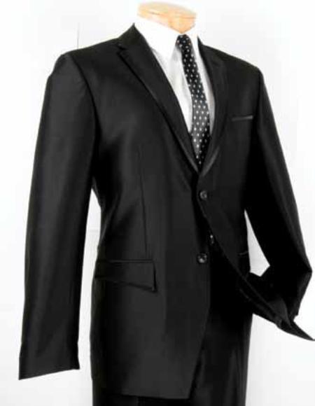 SKU#SM6891 Mens Single Breasted 2 Button Slim Fit Suit Black