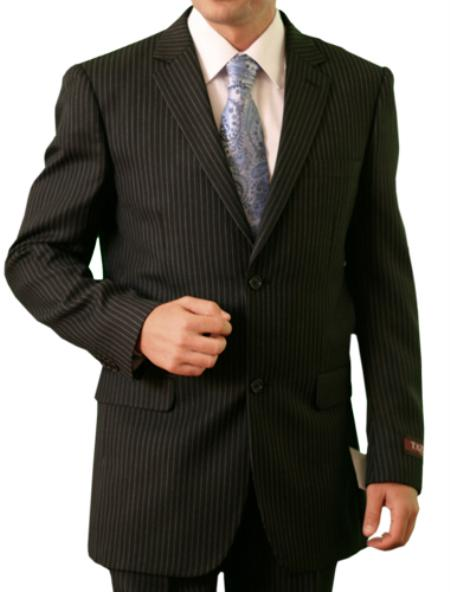 SKU#M115000 Mens Black Stripe ~ Pinstripe 2 Button Front Closure Suit