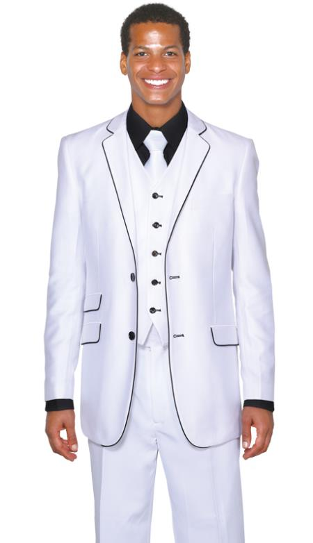 Black Lapel Two Toned Mens 2 Button 3 Piece  Church Suit White Tuxedo With Black Trim - Three Piece Suit