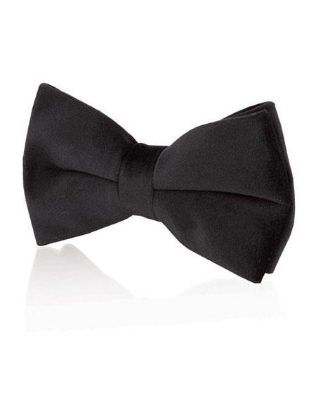 Mens Black Velvet Fashion Bow Tie