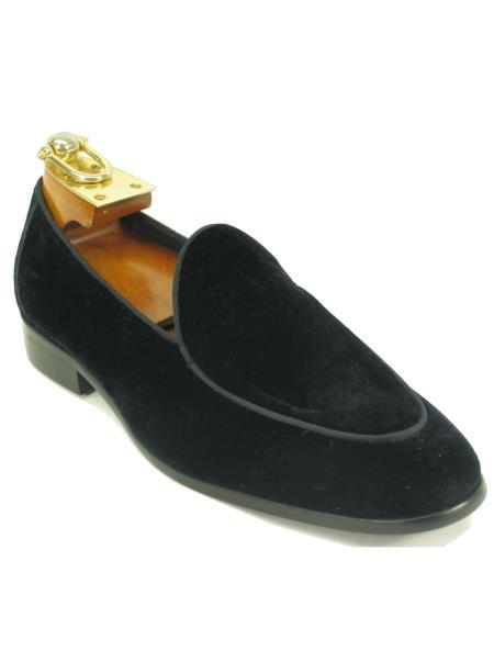 Carrucci Black Men's Slip On Genuine Velvet Fashionable  Stylish Dress Loafer Black Dress Shoe