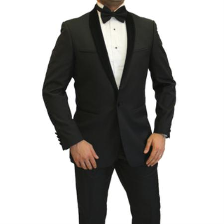SKU#EN7577 Mens Two Toned Full Velvet Lapel Shawl Black  Tuxedo wool Fabric Suit