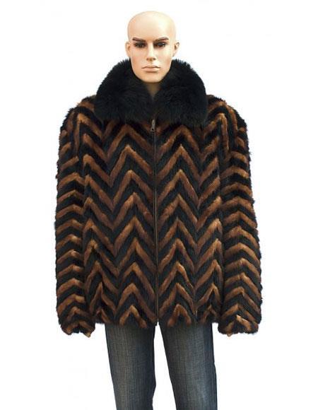 Mens Fur Black/Whiskey Pull-Up Zipper Black Fox Collar Jacket
