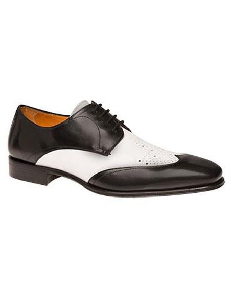 Buy AP486 Mens Black/White Calfskin Two Tone Wingtip Lace Leather Shoes Authentic Mezlan Brand