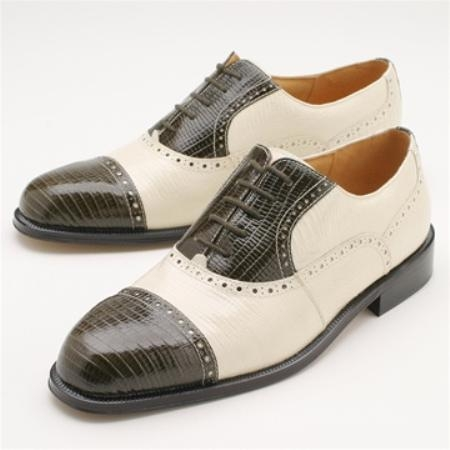SKU# :81209 Black & White Captoe five eyelet bal oxford with lizard print. Leather sole