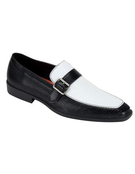 Buy CH1031 Men's Black & White Slip-On Gator Fashionable Two Tone Dress Shoes