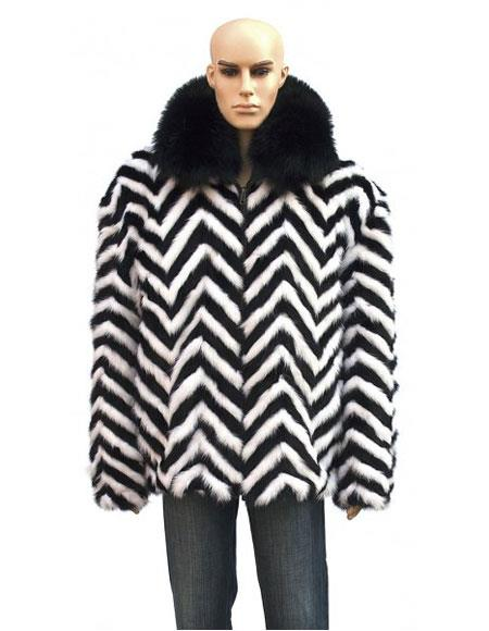 Mens Fur Zipper Black/White Black Fox Collar Jacket